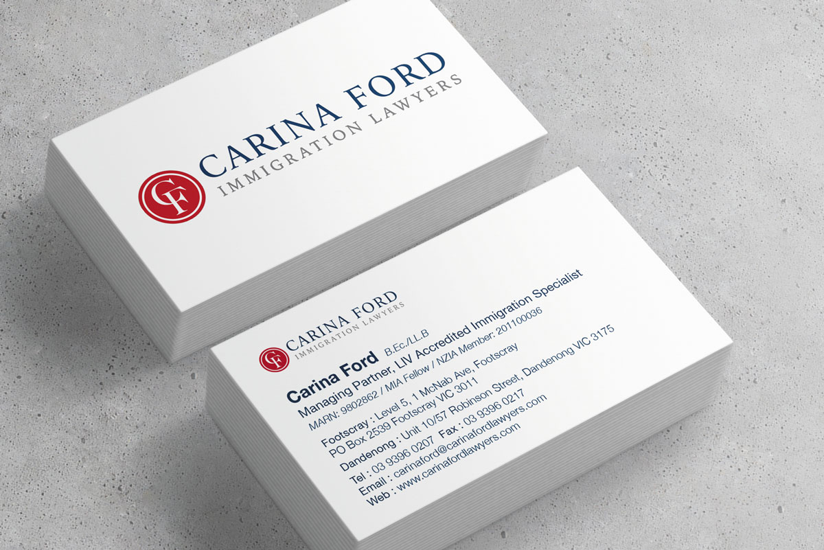 Carina Ford Immigration Lawyers Business card art