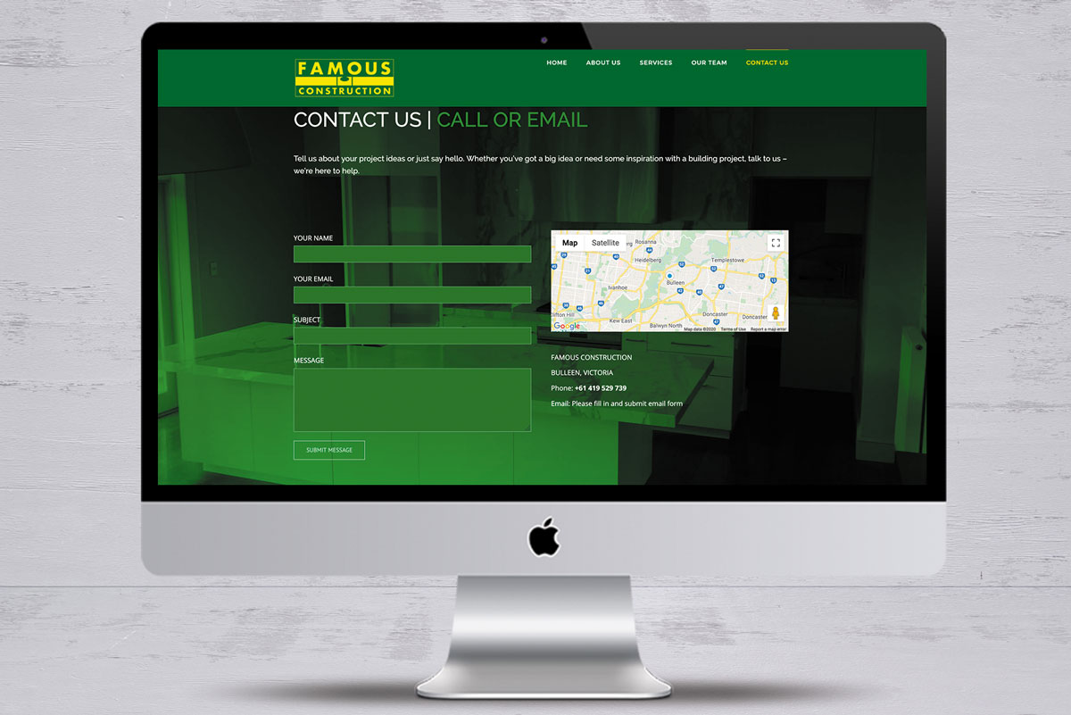 famous construction no6 website design mornington peninsula