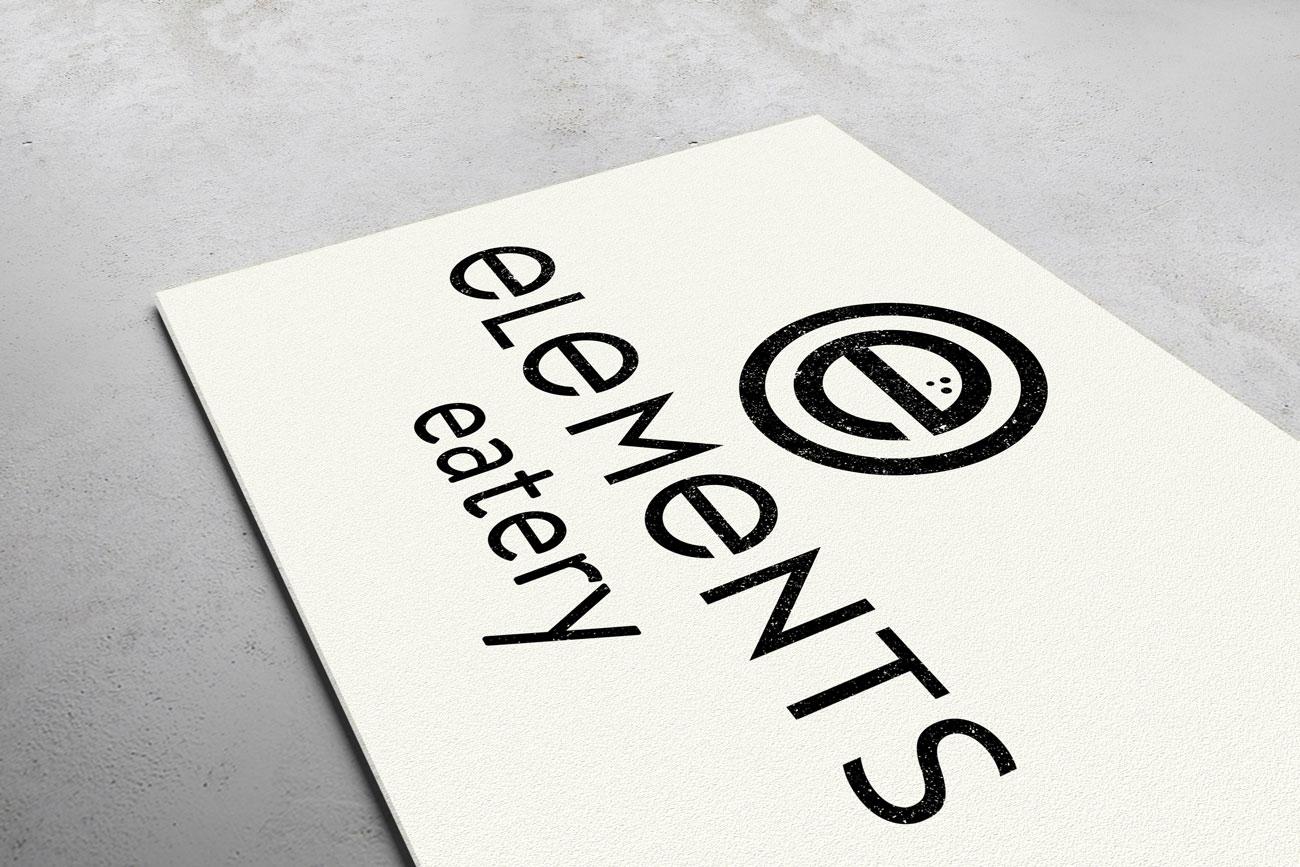 elements eatery logo displayed isometrically