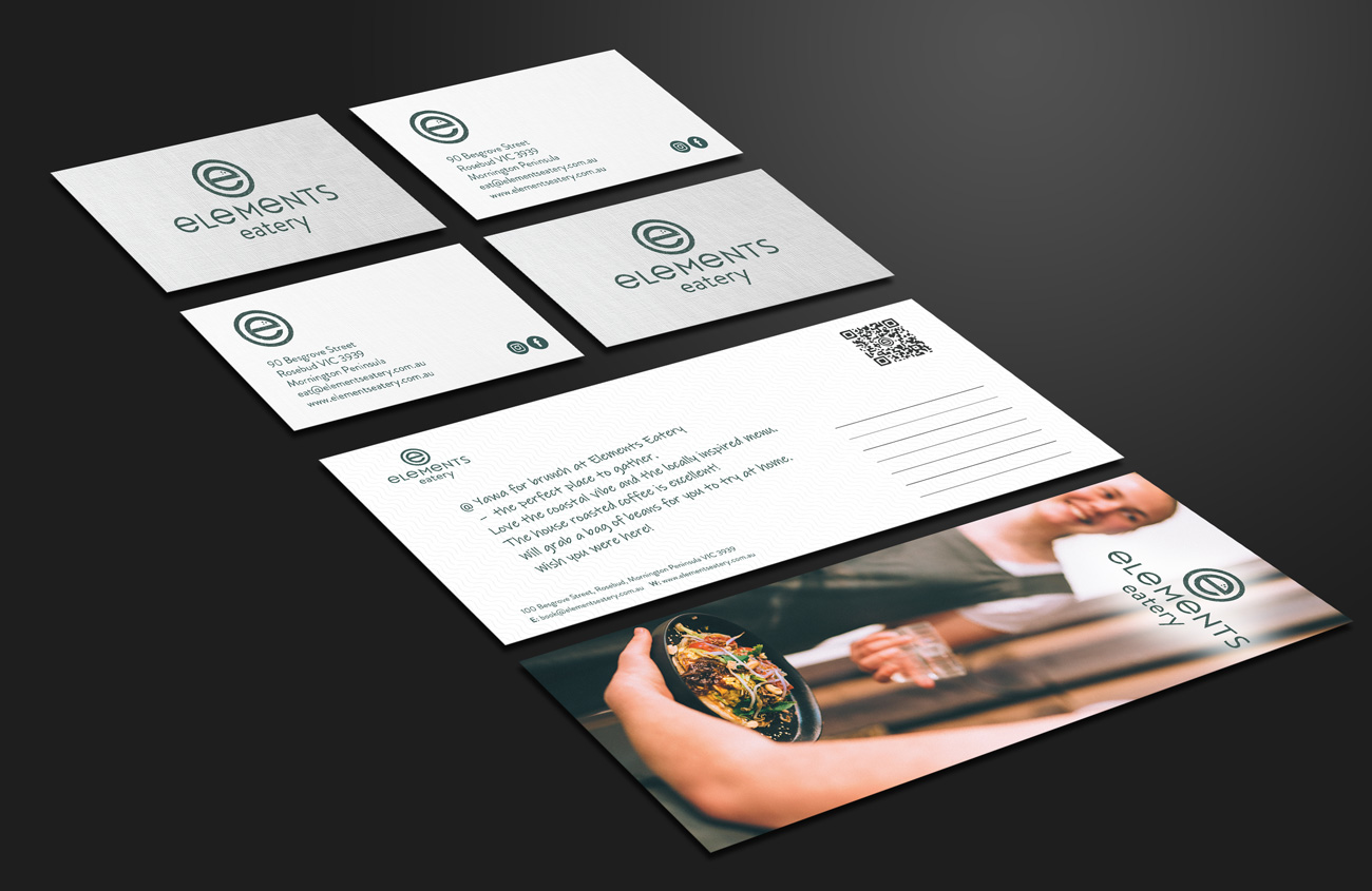 elements eatery print design including business cards and DL flyer